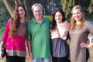 Students Rebba Omer, Katherine Klein, and Kelsey Green (as well as Dennie Byam, not pictured) joined Professor Tom Geraghty for two weeks in Bangladesh after having spent the first half of the semester drafting research papers and collaborating with the rest of the team to map out the steps of the Justice Audit.